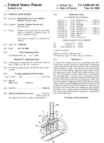 Endress and Hauser vortex flow meter